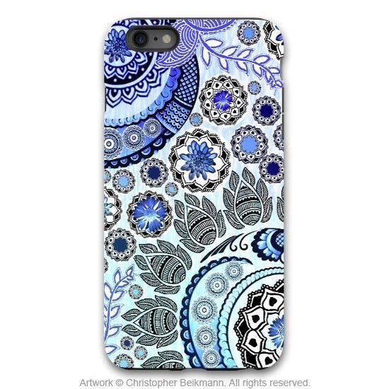 Artistic Paisley iPhone 6 6s Plus Case Blue Mehndi – Design 119 TOUGH model dual layer artisan iPhone 6 6s Plus case by Da Vinci Case of New Mexico, USA - The Case - The Art - More Art Accessories Thi