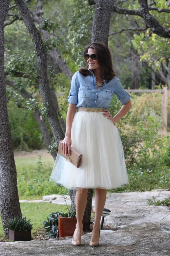 Tulle Skirts rent just for Ballerinas! Anthropologie skirt, BCBG belt, J Crew top, J Crew necklace, Christian Louboutin shoes and clutch.