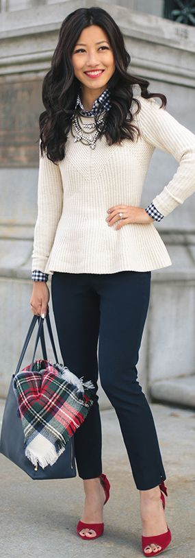 White Peplum Sweater Fall Street Style Inspo by Extra Petite