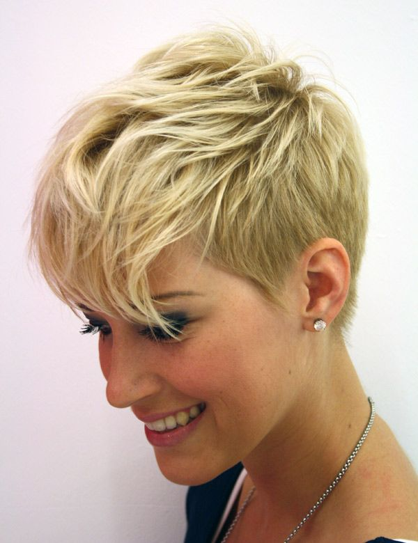 Funky pixie with shaved sides - multiple views on page.