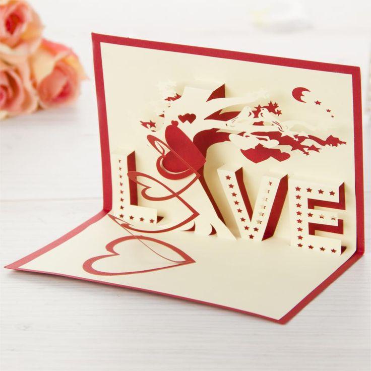 Presentes do dia dos namorados amor e de casamento Handmade Kirigami cartões de aniversário 3D Pop up cartões de tipo frete grátis em Cartões de agradecimento de Escritório & material escolar no AliExpress.com | Alibaba Group