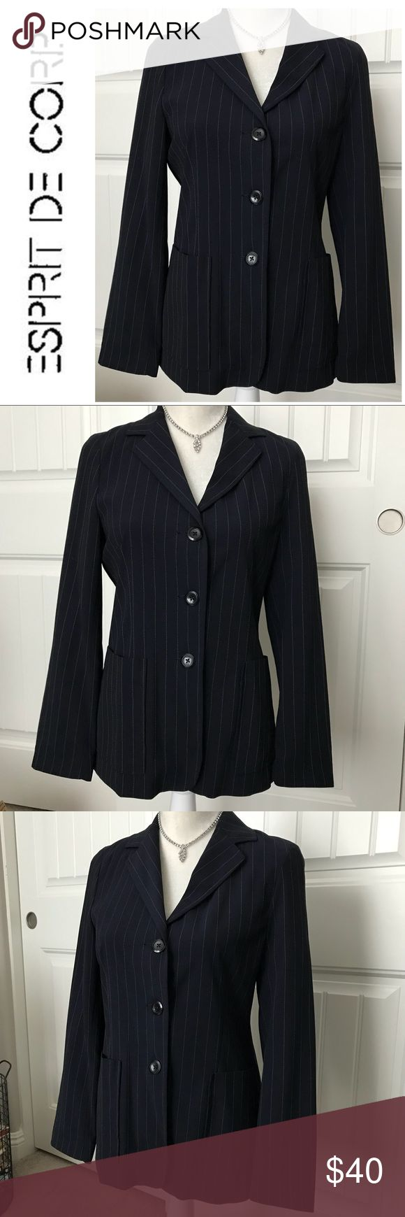 Gorgeous Esprit Navy Pinstripe Blazer Size 3/4 Gorgeous Vintage Esprit de Corp Navy Pinstripe Blazer Size 3/4 in excellent vintage condition. Light weight material. This garment is not lined. Oversized pockets and lapel make it fun and sassy. Would look amazing with white slacks or casual with flared capris. Truly a beautiful piece of iconic clothing...a true gem. Esprit Jackets & Coats Blazers