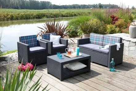 Sitzgruppe ALLIBERT MONACO Lounge Set Poly Rattan anthrazit