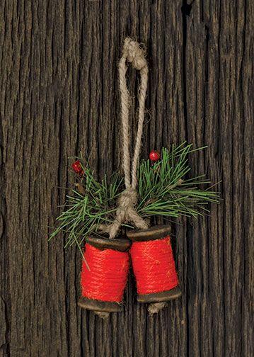 X2  $ 3.99  KP Creek Gifts - Jute Spool Ornament, Red