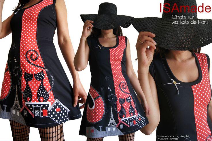 Des Chats sur les toits de Paris ... un style Rétro pour la robe Pois Noire et Rouge à patch ! - Robes Femme Originales & Fantaisie Faites en France.