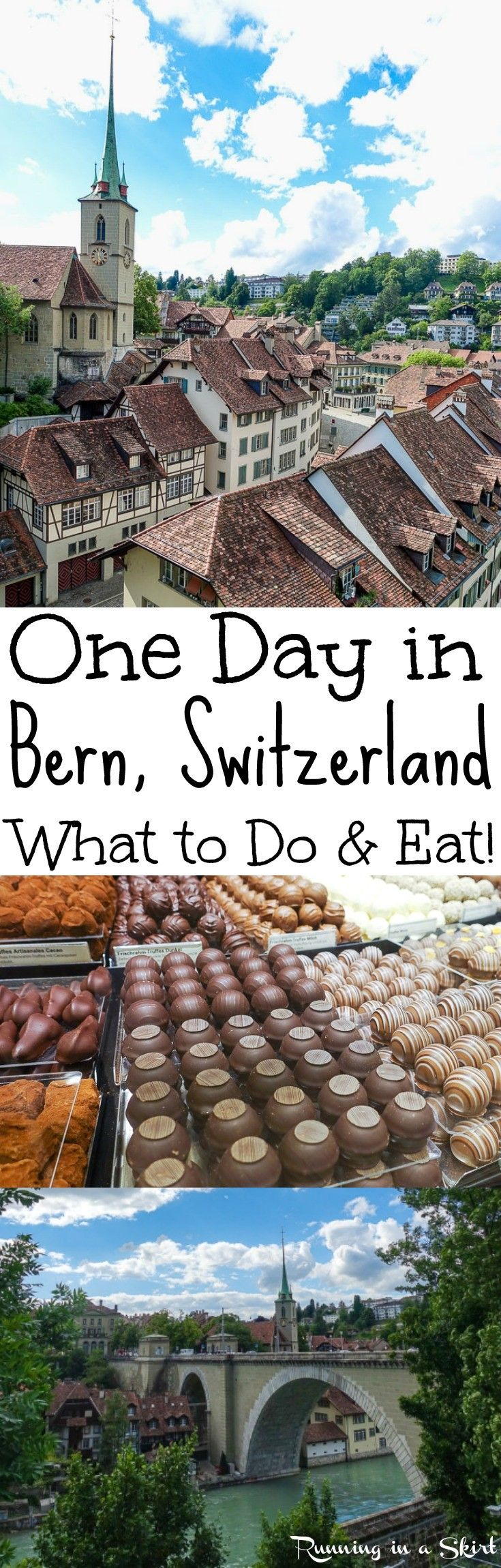 Things to Do with One Day in Bern, Switzerland... the capital of the country.  A charming travel destination in Europe with rivers, medieval architecture towers, a clock that puts on a show, good restaurants and bears.  Bucket list location for those with wanderlust-- pretty pictures too. / Running in a Skirt