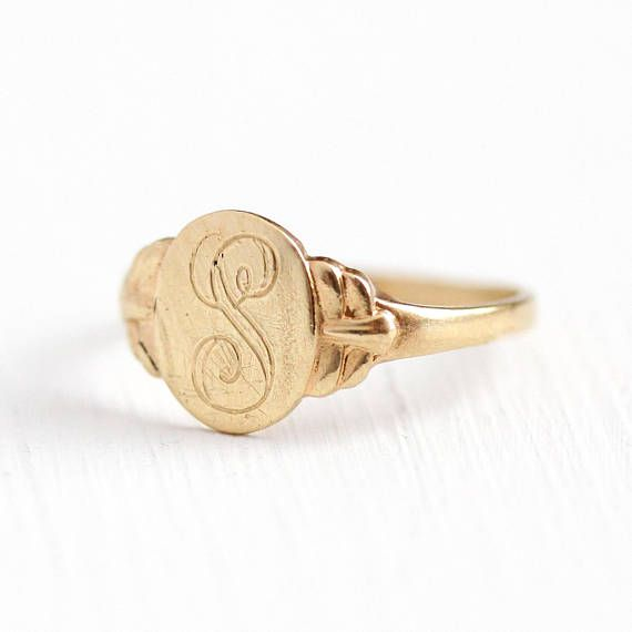 Vintage Signet Ring 10k Rosy Yellow Gold Engraved Letter S Initial Retro 1940s Size 4 1 4 Monogram Oval 40s Fine Jewelry Signet Ring Signet Gold Engraving