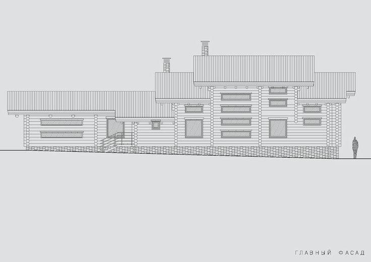 Структура фасадов бревенчатой бани отображает главную идею проекта – идею роста и развития. Обусловлено это рельефом участка в еловом лесу, на котором разместились каменный жилой дом, гараж и баня на кирпичном фундаменте.