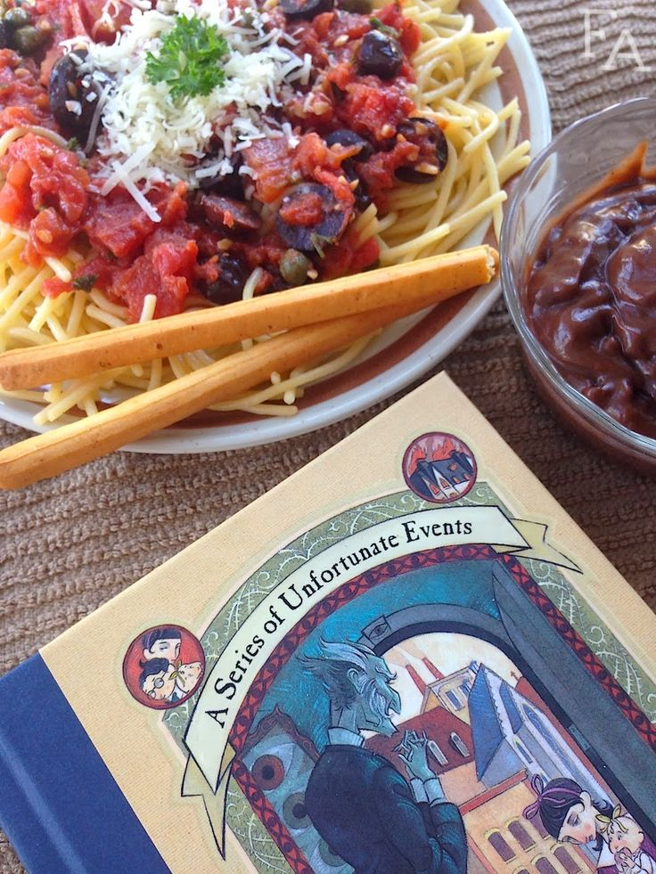 "Pasta Puttanesca from A Series of Unfortunate Events by Lemony Snicket via fiction-food: ""'Puttanesca.' It's an Italian sauce for pasta. All we need to do is sauté olives, capers, anchovies, garlic, chopped parsley, and tomatoes together in a pot, and prepare spaghetti to go with it."" —Klaus Baudelaire, Chap. 3, The Bad Beginning #Kids #Food_Adventures_in_Fiction"