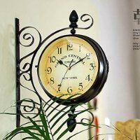 ustide doublesided clock european retro nostalgic wall hanging decorations wrought iron 16inch