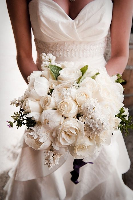 gorgeous all white bouquet with roses and peonies