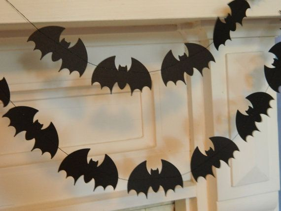 Paper Garland /Halloween  Bunting /6ft Black Bats Garland /Halloween Party Decor /Halloween Garland Holiday Garland /Halloween Photo Prop on Etsy, £5.87