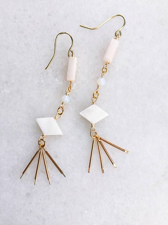 fb8ccd2909915 Long Opal + Fringe Earrings   long stone earrings   pink Peruvian ...