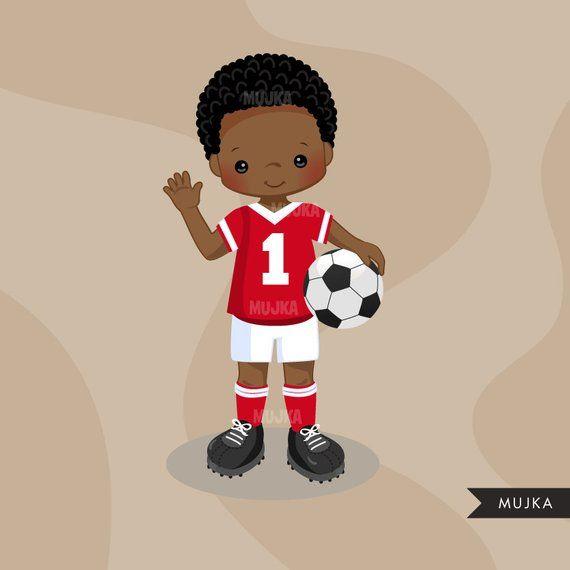 Soccer Clipart Sport Graphics Boys Soccer Player Characters Commercial Use Kids Scrapbooking Worldcup Chores Com Imagens Jogadores De Futebol Meninos Negros Meninas