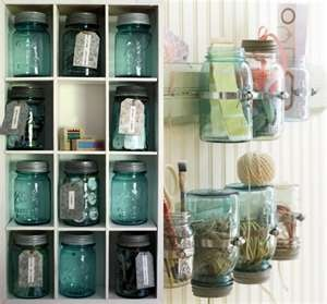 studio/art supply organization using old mason jars