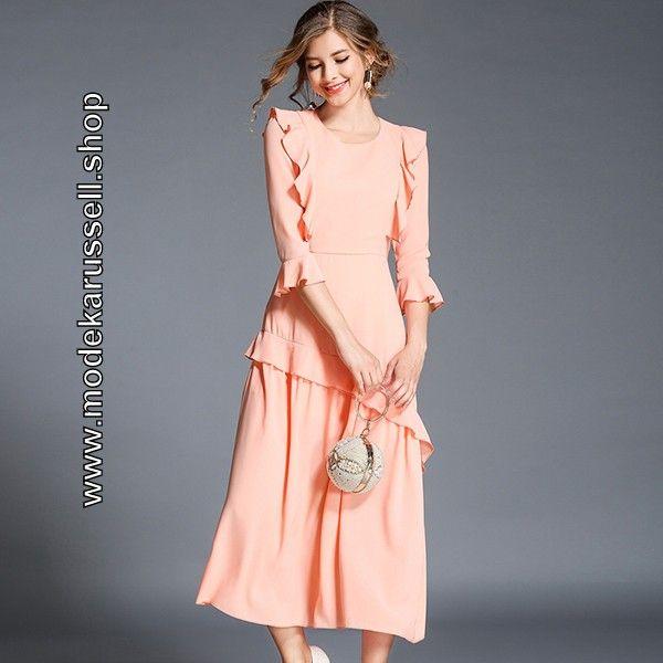 Elegantes Maxi Kleid in Lachs Wadenlang