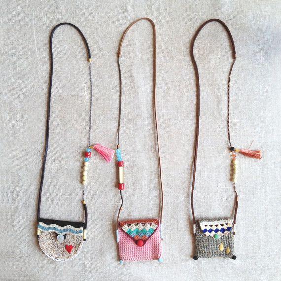 Long pouch necklace in beige by kjoo on Etsy