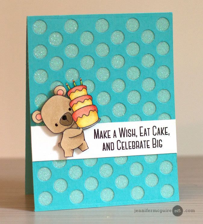 card bear cake polka dot cover-up Background Dies Video by Jennifer McGuire Ink MFT bear stamp BB Beary Special Birthday