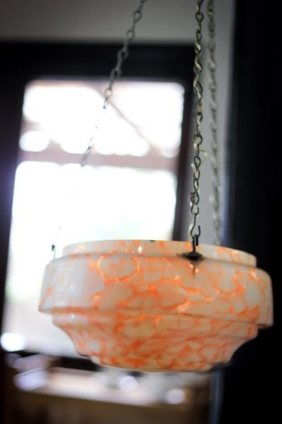 Art Deco Marbled Glass Ceiling Lamp