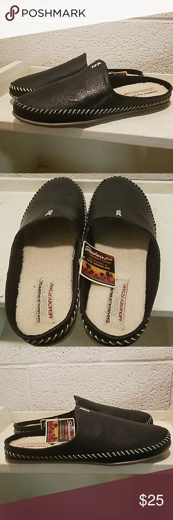 New Skechers Beach Bonfire Slippers - Size 9 New Skechers Beach Bonfire Warm Wonder Slippers - Size 9 - Black. Faux- fur lined, memory foam padded footed, make for a very comfy slipper. Sole of shoe is designed so they can be worn indoor or outdoor. Skechers Shoes Slippers
