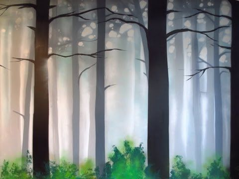 how to paint a misty forest mural using spray paint. Black Bedroom Furniture Sets. Home Design Ideas