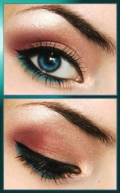 Peach and teal eyeshadow with black eyeliner