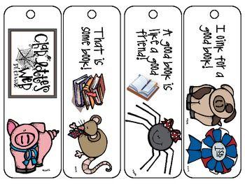charlottes web by e b white set of 4 bookmarks