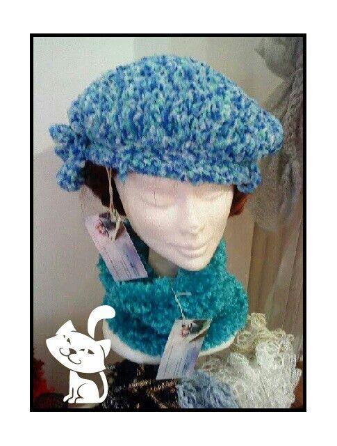 Bonnet laine velours bleue