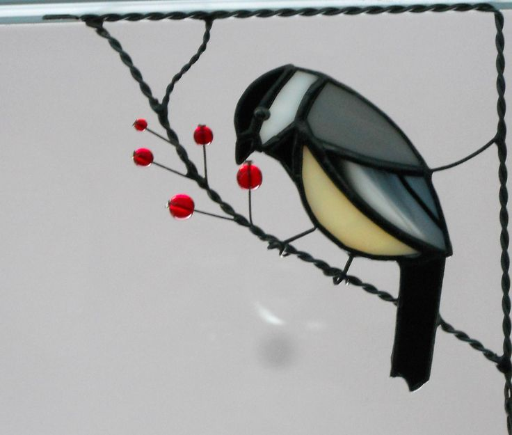 chickadee / stained glass window corner