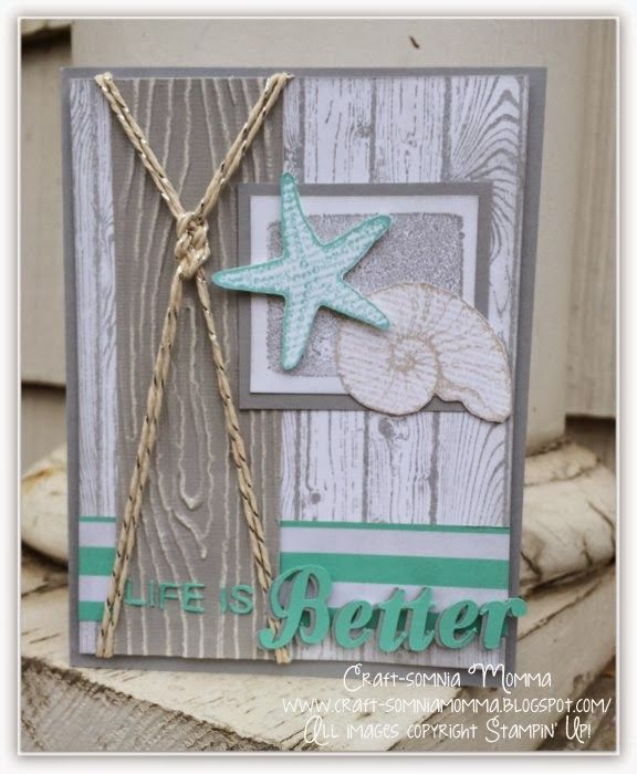 Stampin' Up! stamp sets Hardwood, By the Seashore, woodgrain embossing folder; Sun, Sand and Sailing ~ Craft-somnia Momma
