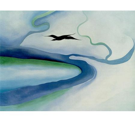 """Georgia O' Keefe """"It Was Blue and Green"""" 1960"""
