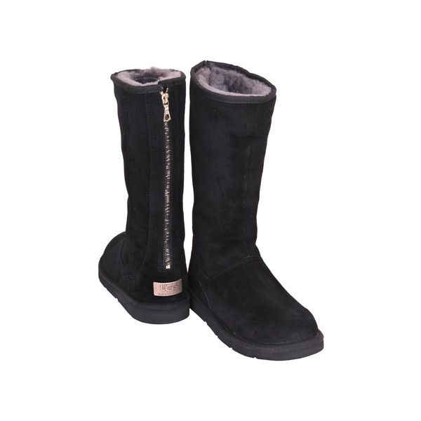 UGG Australia Knightsbridge Black Tall Suede Shearling Zipper Boot