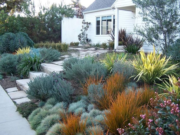 34 Simple But Effective Ideas For The Front Yard When Designing A Budget Landscaping Ideas California Landscaping Drought Resistant Landscaping Front Yard Landscaping