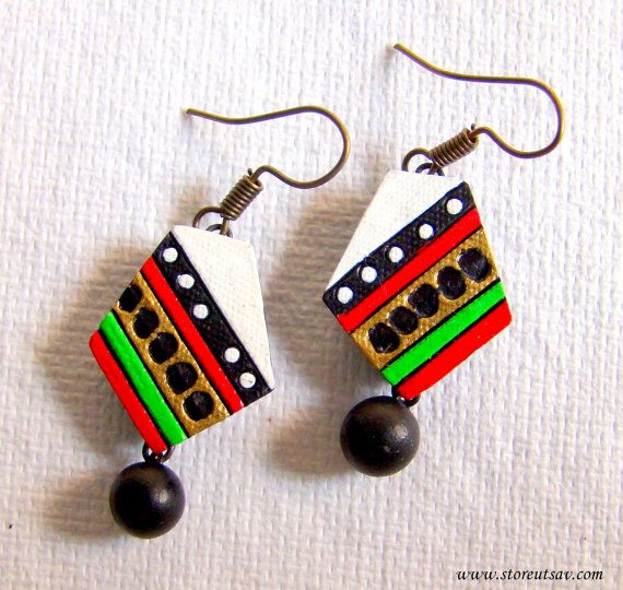 Earrings Terracotta Clay White with Multicolored Bands from West Bengal Jewelry Art of East India Indian Handicraft Terracotta Jewelry