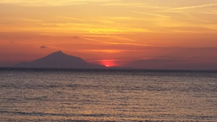 June 2015 Lemnos, sunset over Mount Athos.