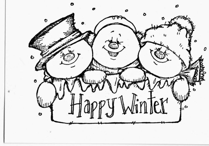 Cute Snowmen Free Printable Coloring Pages.