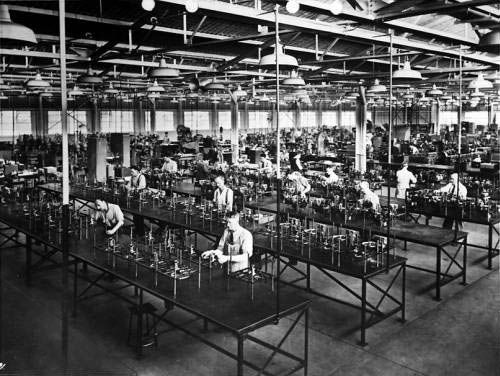 Example Of 1950s Factory Lighting Blue Fluorescent