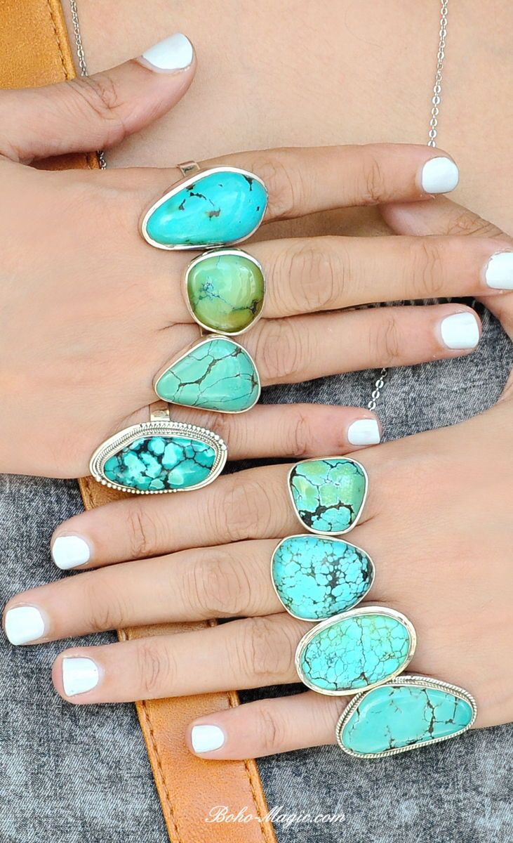 Gemstone Ring,Size 9 Turquoise Ring Boho Ring Stacking Ring Statement Ring with Stone Sterling Silver Ring for Women