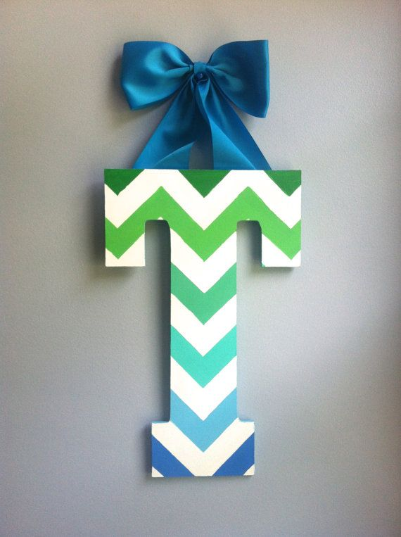 Chevron Wooden Letter by UniqueTogether on Etsy, $17.00