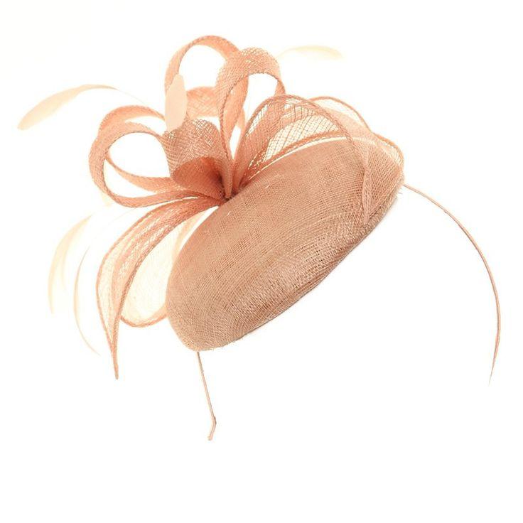 Wedding Fascinator - Nude Loop Disc Sinamay