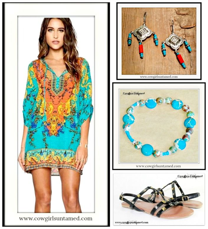 WILDFLOWER TUNIC TOP Tribal Print in Aqua Orange Blue Yellow Tunic Top / Mini Dress/ San Pablo Earrings & Bracelet/ Studded Strappy Sandals  #dress #orange #yellow #turquoise #minidress #fashion #boho #bohemian #gypsy #cowgirl #tieneck #womens #clothing #summer #earrings #silver #turquoise #coral #bracelet #gemstone #handmade #wholesale #sandals #gladiator #flats #onlineshopping #boutique
