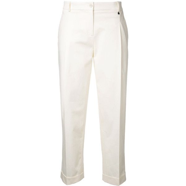 Jil Sander Navy cropped trousers ($400) ❤ liked on Polyvore featuring pants, capris, white cropped trousers, jil sander navy, cropped pants, cropped capri pants and white pants