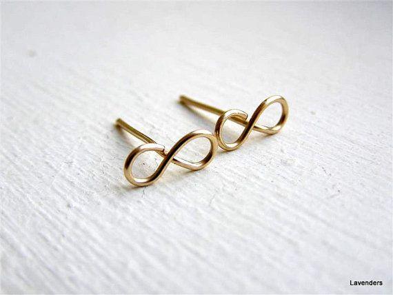 Infinity Post Earrings , Gold Fill , Modern Minimalist , Infinity Jewelry