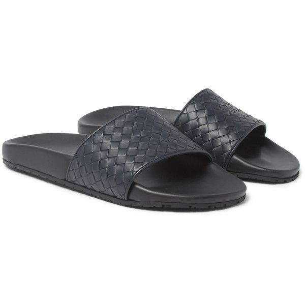 Bottega Veneta Intrecciato Leather Slides ($505) ❤ liked on Polyvore featuring men's fashion, men's shoes, men's sandals, mens beach shoes, mens strap sandals, mens monk strap shoes, mens beach sandals and mens leather sandals