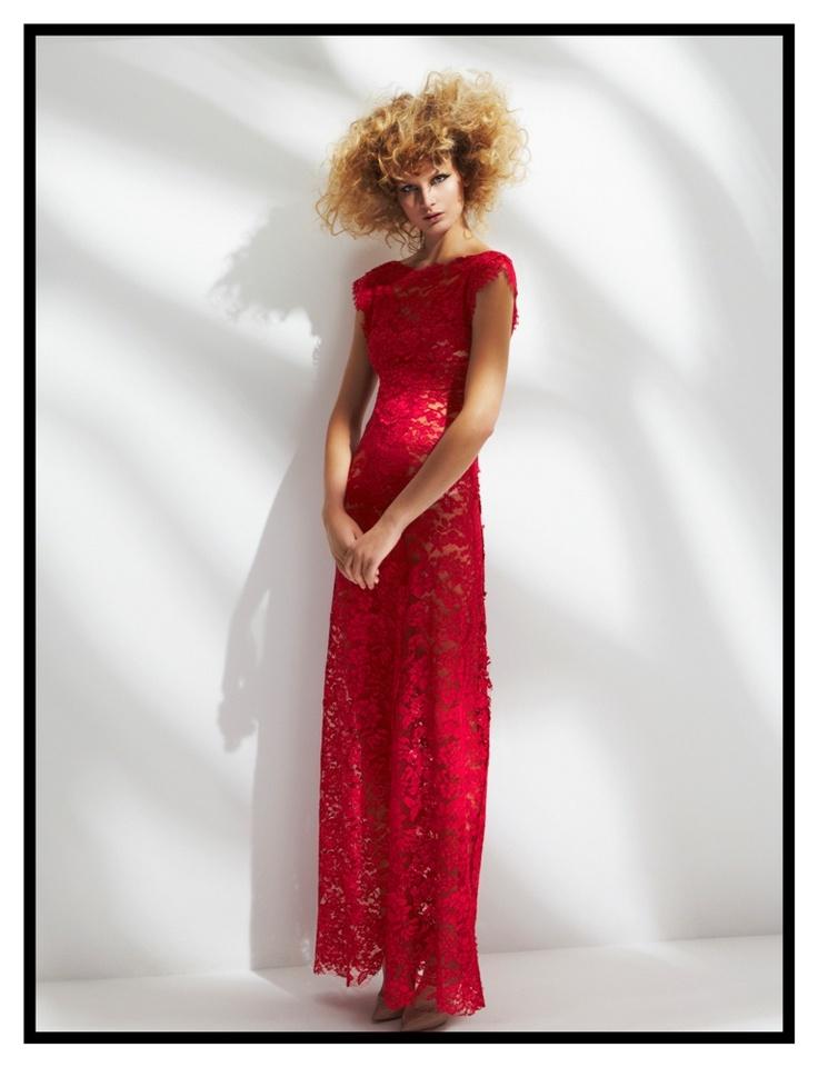 Long cherry lace dress