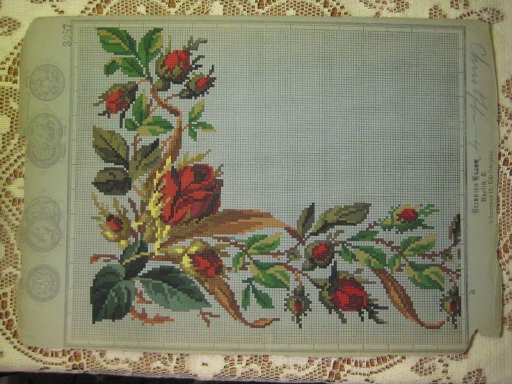 A Beautiful Rose Bud Corner Pattern Produced By Heinrich Kuehn In Berlin