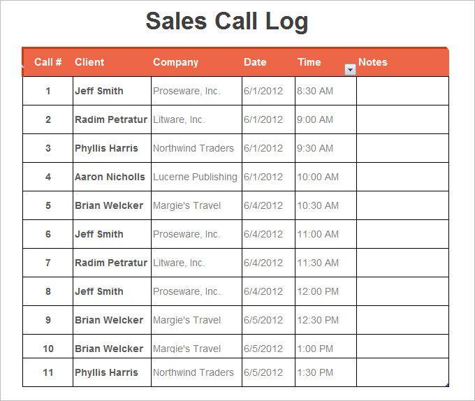 sales call log, free sales call log templates