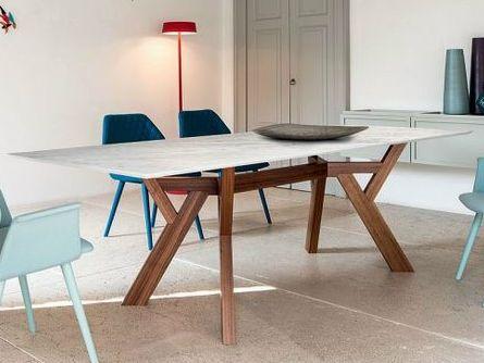 Mesa de salón rectangular 3120 Mesa de mármol de Carrara Colección Trigono by Bross Italia diseño Enzo Berti