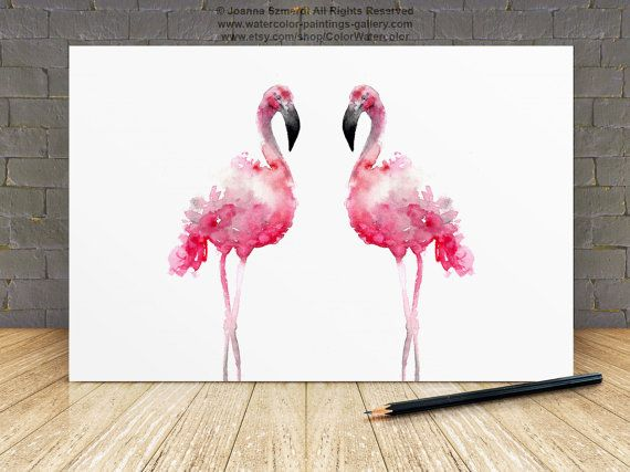 Flamingo Pink Home Decor, Two Flamingos Watercolor Print