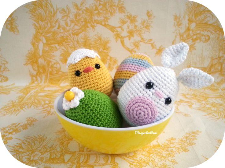 Des œufs de Pâques à crocheter.  Patron gratuit -free pattern